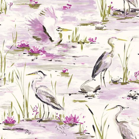 Cranes Reeds Floral Wallpaper White Heather Lime Watercolour Paste Wall Holden