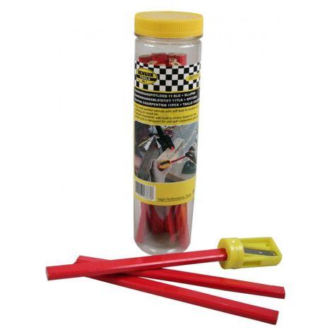 Crayon de charpentier 11 pièces + taille-aiguiseur