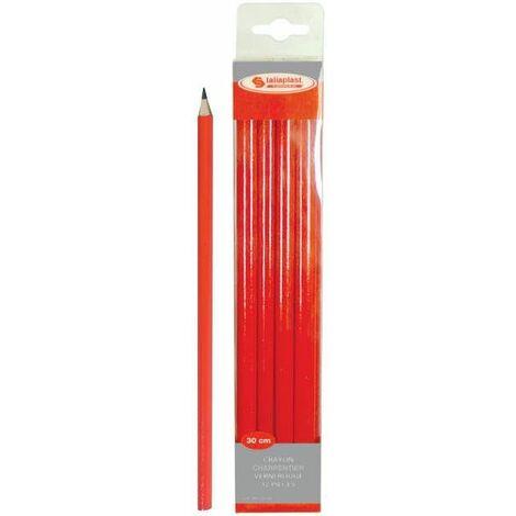 """main image of """"Crayon de charpentier rouge 30 cm TALIAPLAST - Lot de 12"""""""