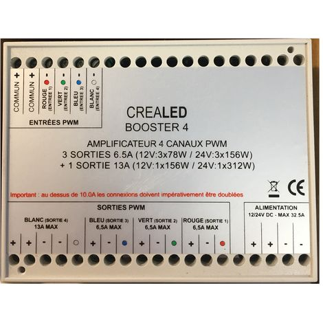 Crealed BOOSTER 4 - Amplifier 4 channels PWM 12/24V - Outs 3 x 6.5A + 1 x 13A