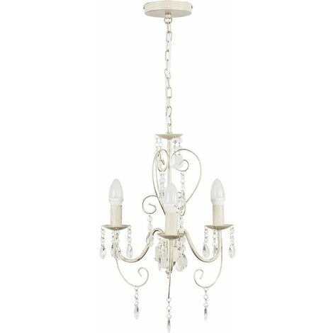 Cream 3 Way Chandelier With Acrylic Jewels 3 x 4W Ses E14 40W Frosted Glass Candle Bulbs