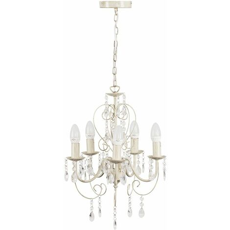 Cream 5 Way Chandelier With Acrylic Jewels 5 x 4W LED Ses E14 Frosted Glass Candle Bulbs