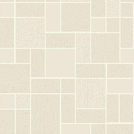 Cream Beige 3D Effect Tile Wallpaper Glitter Shimmer Kitchen Bathroom Vinyl from Y�L