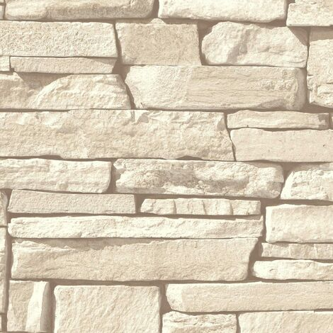 "main image of ""Cream Brick Wallpaper Grandeco 3D Effect Stone Textured Vinyl"""