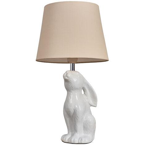 Cream Ceramic Rabbit / Hare Table Lamp + Beige Light Shade + 6W LED Gls Bulb Warm White