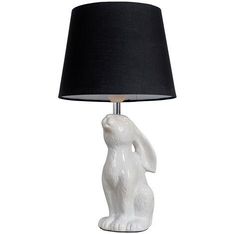 Cream Ceramic Rabbit / Hare Table Lamp + Black Light Shade + 6W LED Gls Bulb Warm White