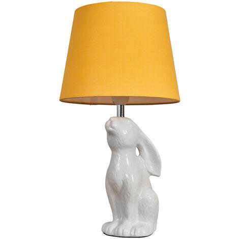 Cream Ceramic Rabbit / Hare Table Lamp + Mustard Light Shade + 6W LED Gls Bulb Warm White