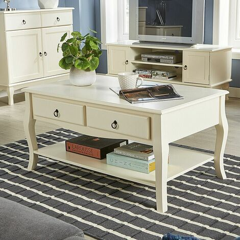 """main image of """"Cream Coffee Table 2 Drawer Shelf Occasional French Inspired Sculpted Curved Leg"""""""
