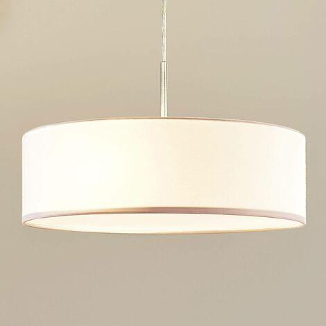 Cream-coloured fabric LED pendant light Sebatin