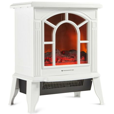 Cream Electric Freestanding Fireplace Stove Heater 1800W Wood Log Burning Effect