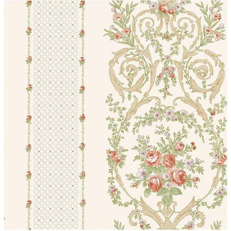 Cream Floral Leaf Wallpaper Lilac Pink Metallic Geometric Beige Green Ornament