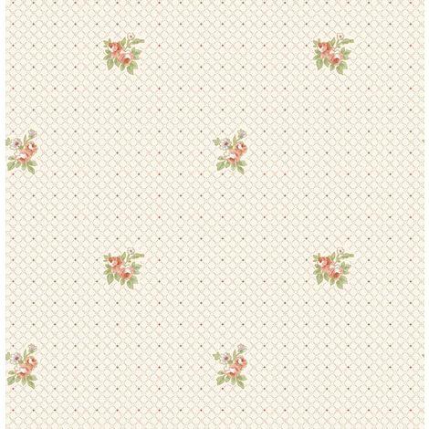 Cream Floral Wallpaper Rose Pink Metallic Geometric Crosshatch Beige Vintage