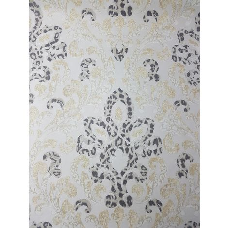 Cream Gold Damask Wallpaper Glitter Charcoal Leopard Textured Floral Paste Wall