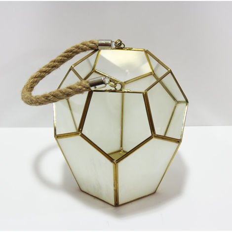 Cream/Gold Glass Candle Holder