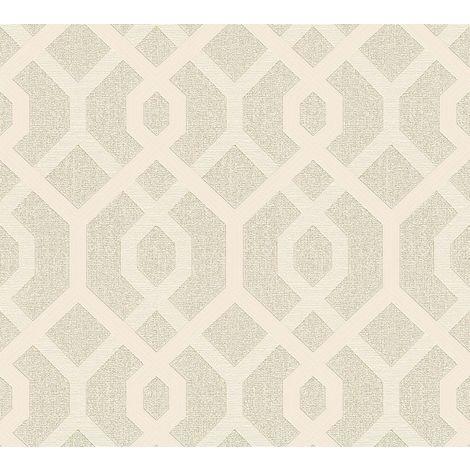 Cream Gold Glitter Geometric Pattern Metallic Vinyl Wallpaper Embossed Modern