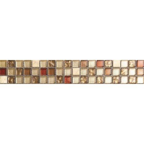 Cream & Gold Stone Glass Mix Mosaic Wall Tile Strips Border Bathroom MB0065