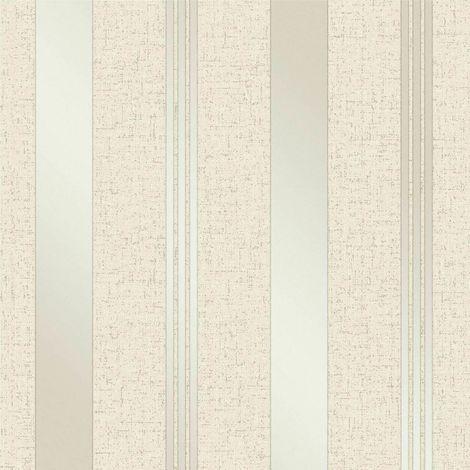 Cream Gold Stripe Glitter Wallpaper Vinyl Textured Shimmer Fine Decor Quartz