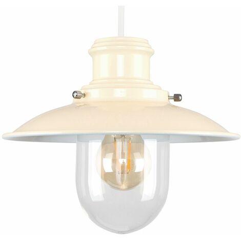 Cream Metal & Glass Vintage Lantern Easy Fit Ceiling Lamp Pendant
