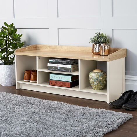 """main image of """"Cream Oak Hallway Storage Bench With Open Shoe Storage Shelves and Padded Seat"""""""
