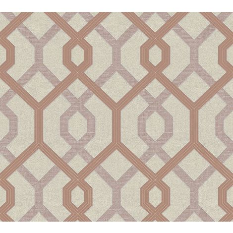 Cream Rose Gold Geometric Silver Glitter Metallic Vinyl Wallpaper Embossed