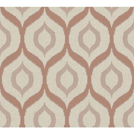 Cream Rose Gold Glitter Geometric Pattern Metallic Vinyl Wallpaper Embossed