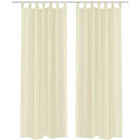Cream Sheer Curtain 140 x 245 cm 2 pcs