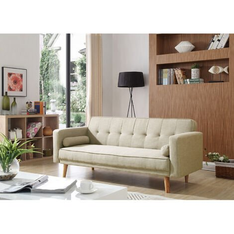 Cream Sofa Bed 3 Seater Adjustable 3 Inclining Positions Back Padded Sofabed Suite with 2 Cushions for Living Room