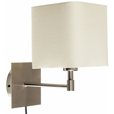 Cream Square Brushed Chrome Bedside Wall Light + Plug, Cable & Switch