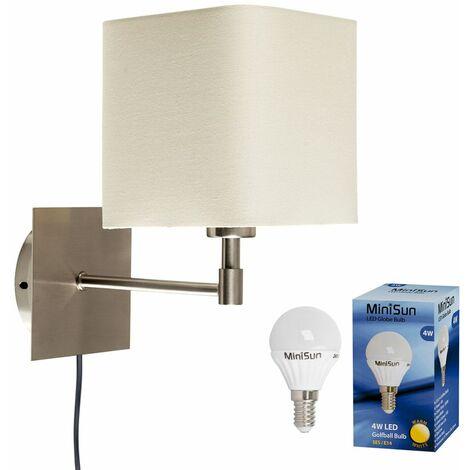 Cream Square Brushed Chrome Wall Light + Plug, Cable & Switch + 4W LED Bulb - Warm White