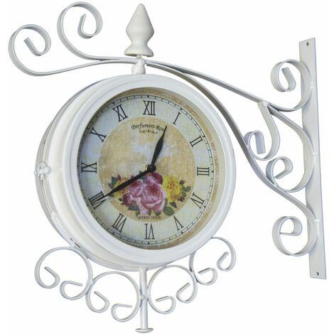 Cream Vintage 37Cm Double Sided Metal Garden Outdoor Bracket Wall Clock - White
