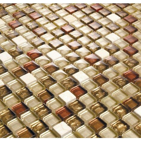Cream White Red Gold Silver Stone & Glass Mix Mosaic Wall Tiles MT0065