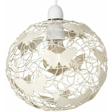 Cream Wire Frame Globe Ceiling Pendant Light Shade With Butterflies - Cream