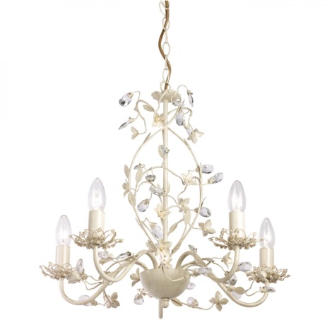 Cream With Brushed Gold Effect Paint & Clear And Pearl Effect Acrylic 5lt Pendant 60W by Happy Homewares