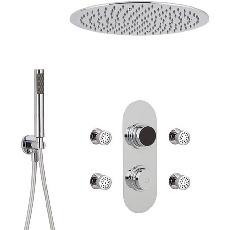 Create a sumptuously luxurious showering experience with the modern Milano Vis three outlet digital shower system, which includes a digital shower control, ceiling-mounted recessed shower head, body jets and hand shower kit. The anti-corrosive stainless s