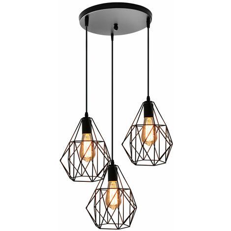 Creative 3 Lights Chandelier Simple Vintage Pendant Light Retro Ceiling Light for Cafe Bar Black E27