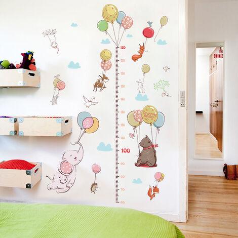 Creative ballon animal enfant hauteur mesure sticker mural enfant chambre armoire renard lapin croissance graphique règle pour la maison
