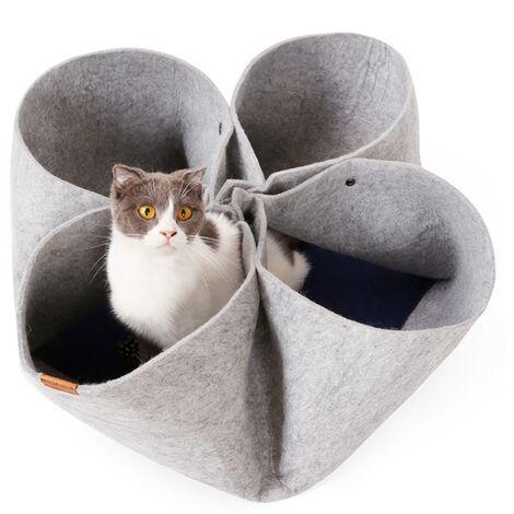 Creative Cat Litter Flower Petal Litter Design Original Design Four Seasons Pet Pet Tunnel Cat Tunnel Function Variable Cat (Gray) -