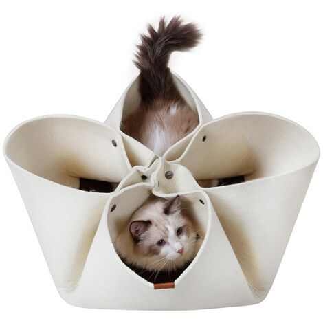 Creative Cat Litter Flower Petal Litter Original Design Four Seasons Pet Cat Carpet Cat Bed, Cat Tunnel Modifiable Function (Beige) -