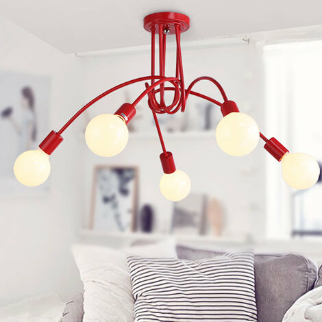 Creative Ceiling Light 5 Heads Industrial Chandelier Vintage Ceiling Lamp Retro Metal Pendant Light E27 Red