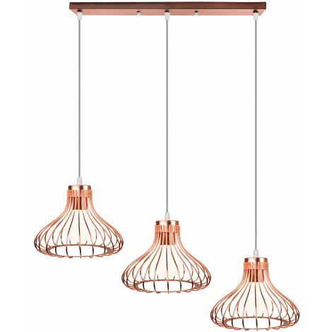 Creative Ceiling Light Cage Shape Vintage Pendant Light Adjustable 3 Lights Industrial Pendant Lamp for Living Room Dining Room Bar Balcony Rose Gold E27