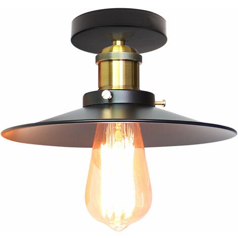 "main image of ""Creative Chandelier 60W Metal Iron Ceiling Light Ø220MM Antique Industrial Ceiling Lamp E27 Socket for Dining Room Cafe Bar Office Restaurant (Black)"""