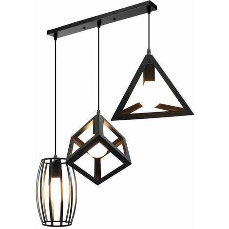 Creative Chandelier Creative Geometric Shape Cube Triangle Round Adjustable Lamp 3 Lights Vintage Hanging Light Industrial Pendant Lamp Fixture for Indoor Decoration Black