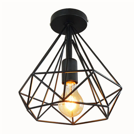 Creative Chandelier Vintage Diamond 25cm Retro Ceiling Lamp Metal Cage Industrial Ceiling Light Black