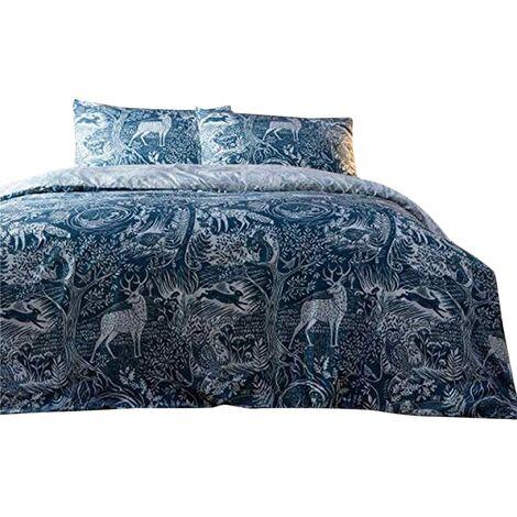 Creative Cloth Winter Woods Duvet and Pillowcase Set (Single) (Midnight Blue)