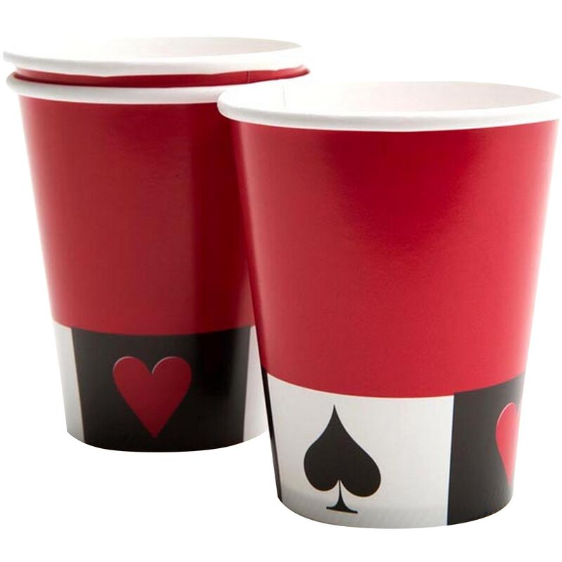 Image of 8 Cards Night 9oz Party Cups (9oz) (Red/White/Black) - Creative Converting