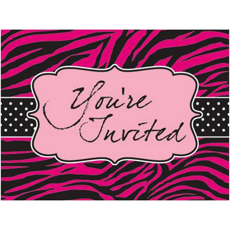 Image of Pink Zebra Boutique Invitation Cards (Pack of 8) (One Size) (Pink) - Creative Converting