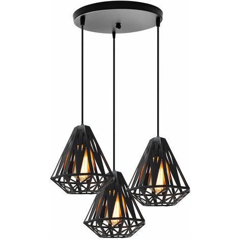 Creative Diamond Ceiling Lamp Black Ø20cm Modern Retro Ceiling Light,3 Lights Pendant Light Industrial Metal Chandelier E27 Socket Iron Cage Lamp Shade