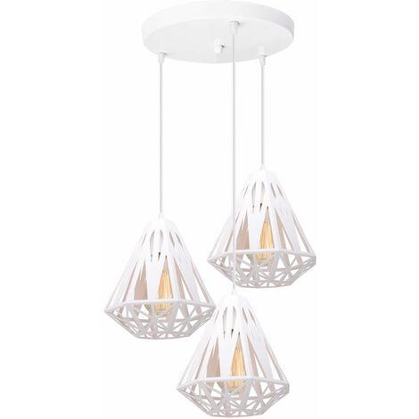 Creative Diamond Ceiling Lamp White Ø20cm Modern Retro Ceiling Light,3 Lights Pendant Light Industrial Metal Chandelier E27 Socket Iron Cage Lamp Shade