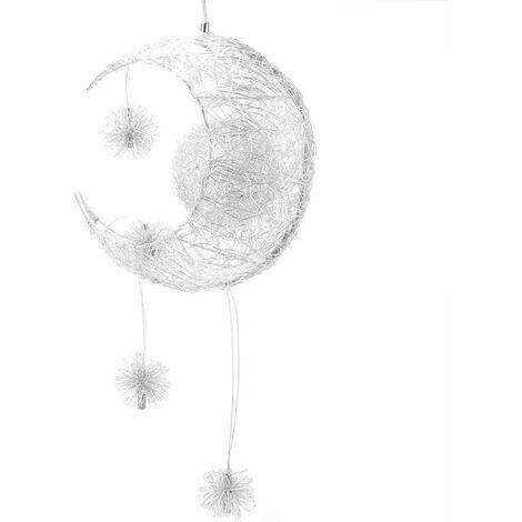 Creative Fairy Moon Stars Pendant Lamp Modern LED Hanging Light Braided Chandelier Shade for Bedroom Children Room Cool Light