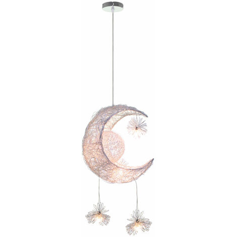 Creative Fairy Moon Stars Pendant Lamp Modern LED Hanging Light Braided Pendant Light